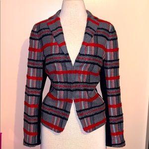 akris punto tweed plaid wool alpaca jacket size XL